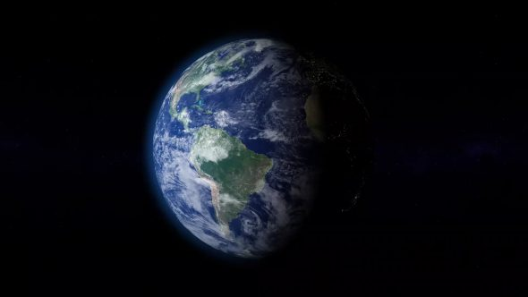 Rotating Planet Earth With Atmosphere 01