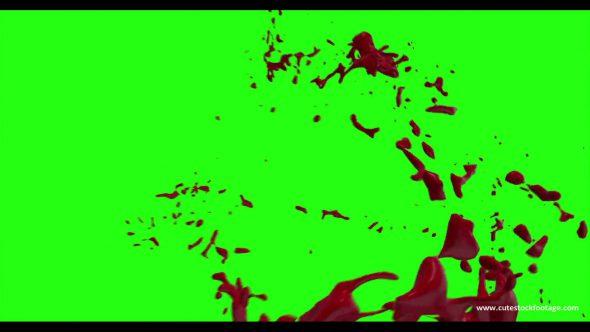 Hd Blood Burst Motion Blur Green Screen 195