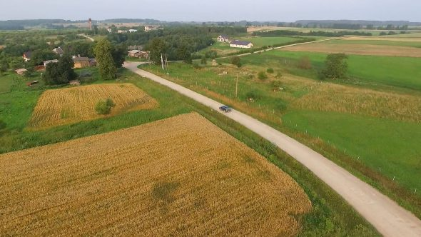 Aerial View, Car Driving On Gravel Road In Country 2