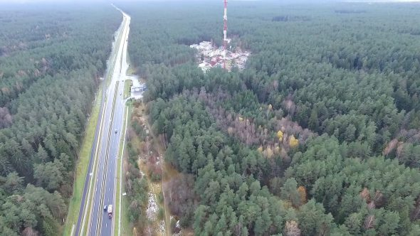 Flight Over The Highway, Tv Tower And Forest 1