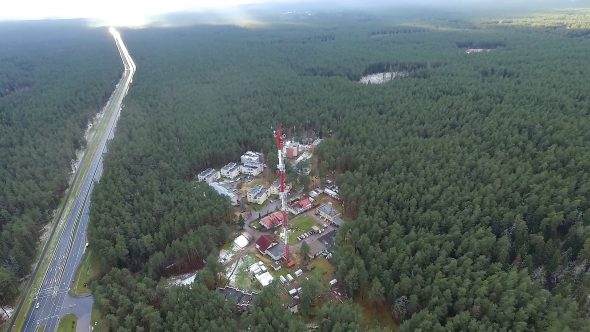 Flight Over The Highway, Tv Tower And Forest 2