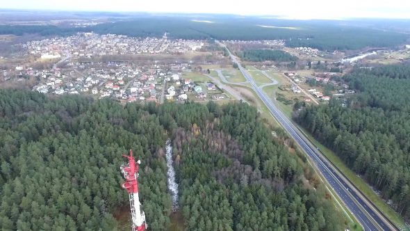Flight Over The Highway, Tv Tower And Forest 6
