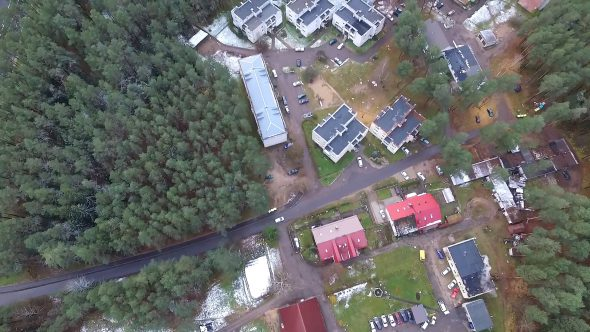 Vertical Flight Over Tv Tower, Houses And Forest