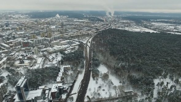 Aerial View Over The City, Winter 1