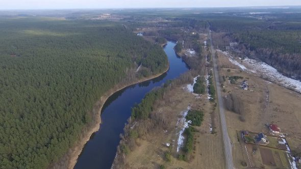 Panorama Over Small Town With River