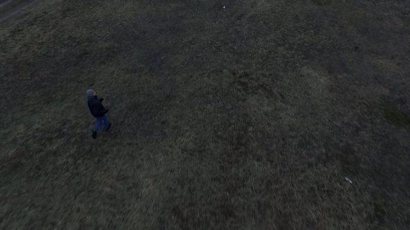 Aerial View Of Running Men