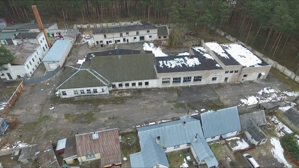 Flight Over Abandoned Buildings