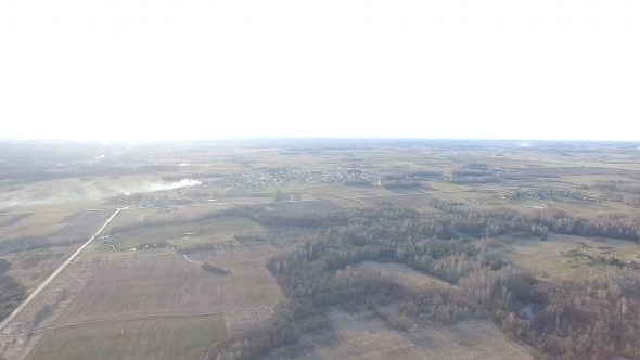 Panorama Over Landscape Near Little Town With Rotation