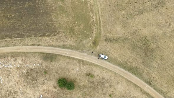 Vertical Landing In A Meadow Near Path