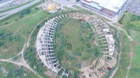 Flight Around Abandoned Stadium Near Supermarket 1