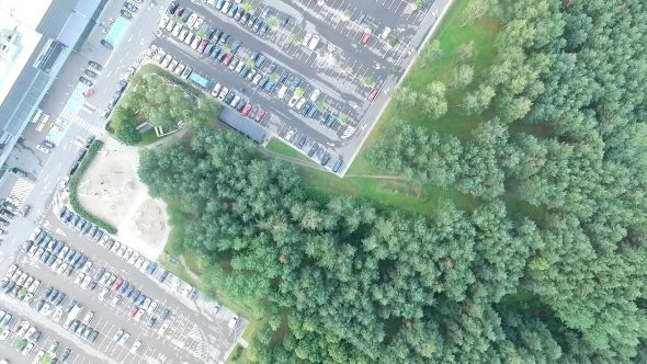 Aerial View Over Parking Near Supermarket 2