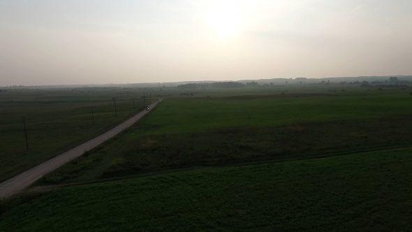Flight Beyond Gravel Road In Countryside 4