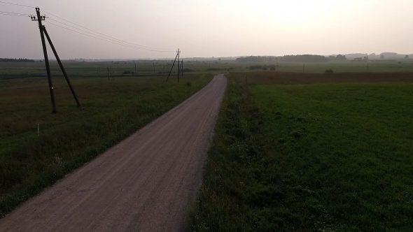 Flight Beyond Gravel Road In Countryside 5