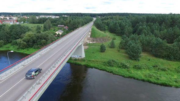 Panorama Over The Bridge Near River