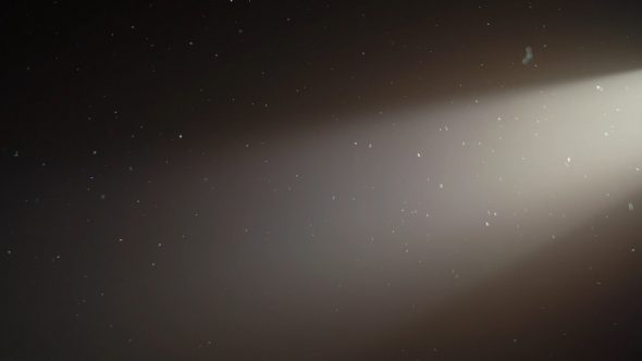 Floating Particles Of Dust With Light Beams From Right